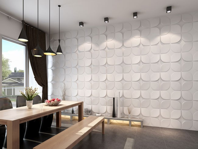 Flower 3d Wall Panels : Flower design d glue on wall panel