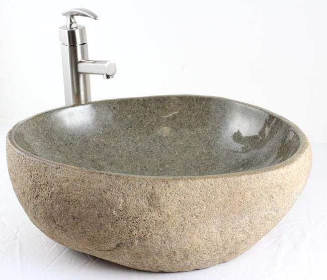 Nature River Stone Countertop Bathroom Lavatory Vessel Sink 19 x