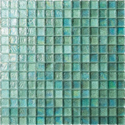 Aqua Blue Irredescent Reflection Rippled Glass Mosaic Tile