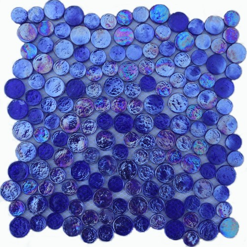 cobalt blue irredescent reflection rippled glass mosaic