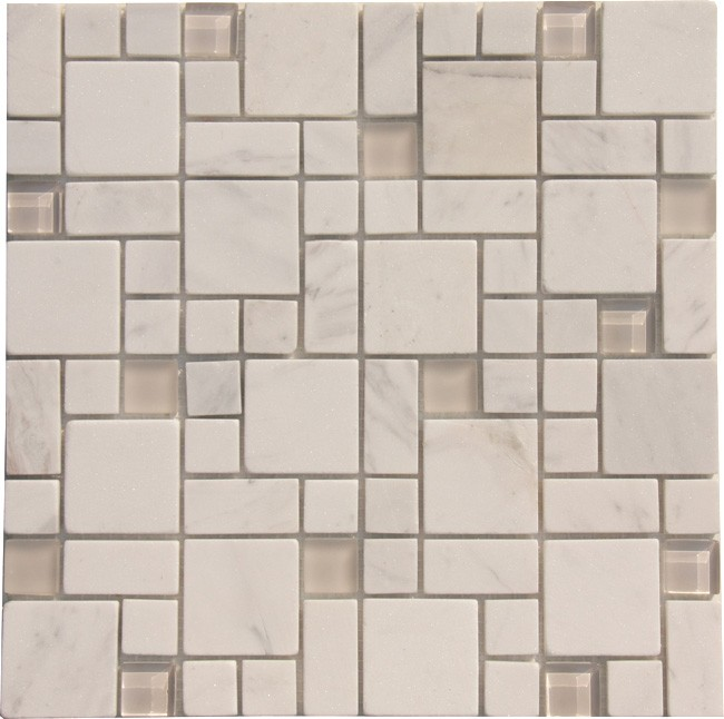 White Marble Mixed with Glossy and Matt Glass Marble Mosaic Tile ...