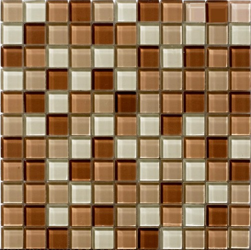 Glossy brown cappuccino blend glass mosaic tile mesh for Installing glass tile with mesh back