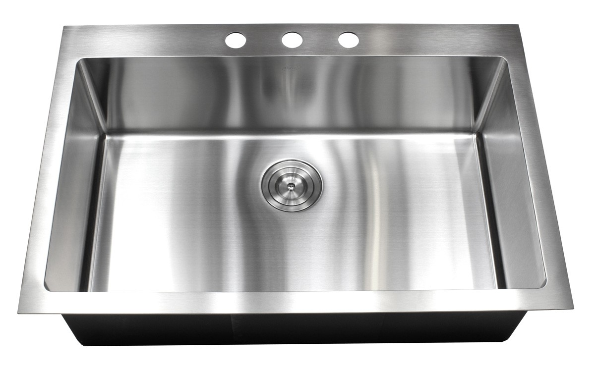 drop in stainless steel single bowl kitchen sink 15mm radius design
