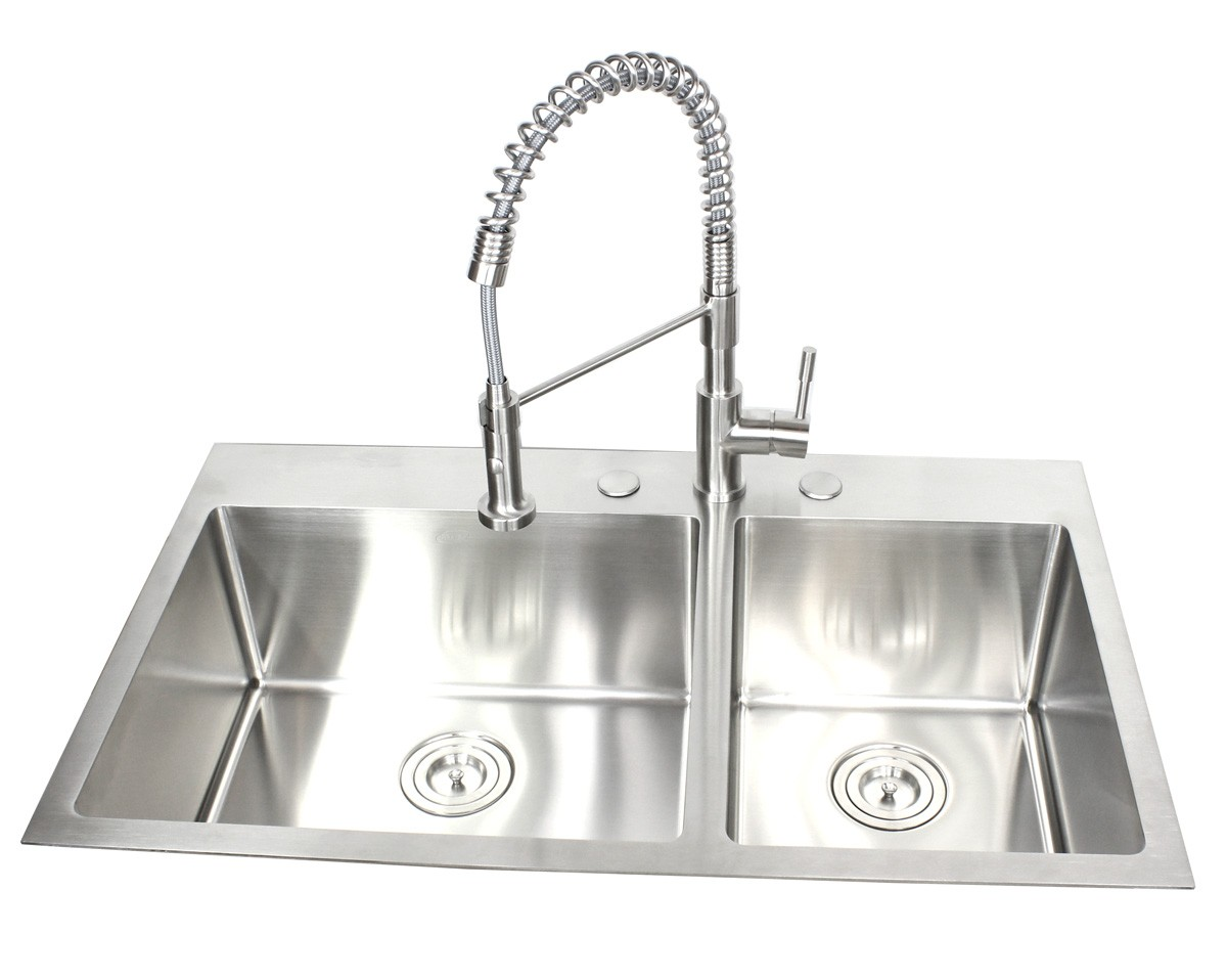 36 Inch Top Mount / Drop In Stainless Steel 60/40 Double Bowl Kitchen Sink  15mm Radius Design
