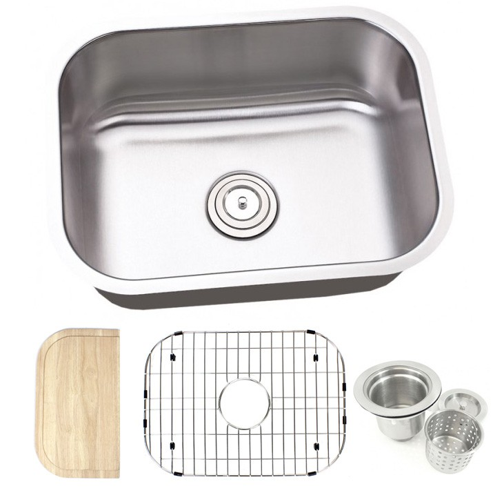 23 inch stainless steel undermount single bowl kitchen sink   16 gauge free accessories 23 inch stainless steel undermount single bowl kitchen sink   16      rh   cbath com