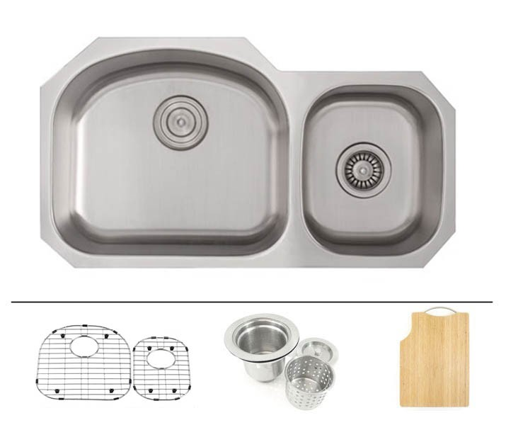 32 inch stainless steel undermount 60 40 double d bowl offset kitchen sink   16 gauge free accessories 32 inch stainless steel undermount double 60 40 d bowl offset      rh   cbath com