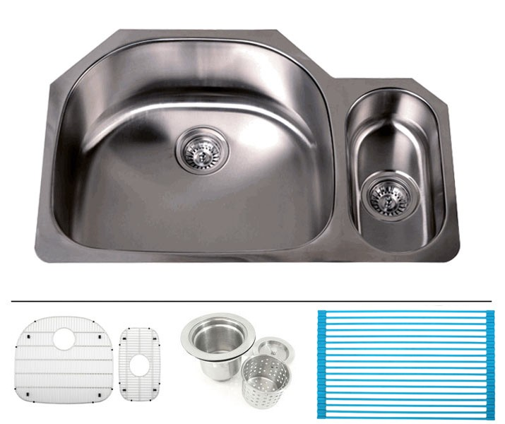 32 inch 16gauge stainless steel undermount double large - Stainless steel kitchen sink accessories ...