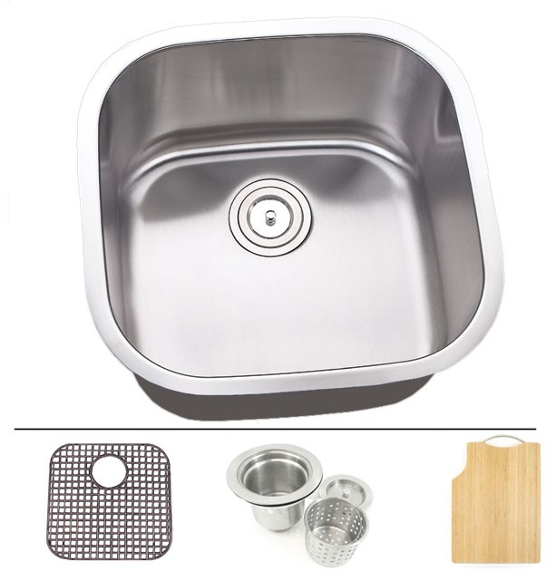 Undermount Stainless Steel Kitchen Sink : 20 Inch Stainless Steel Undermount Single Bowl Kitchen Sink - 16 Gauge ...