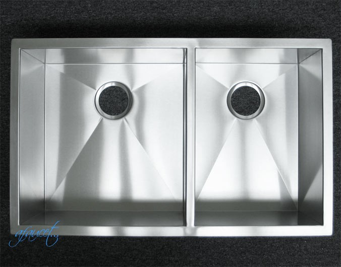 Medium image of 32 inch stainless steel undermount 60 40 double bowl kitchen sink zero radius design