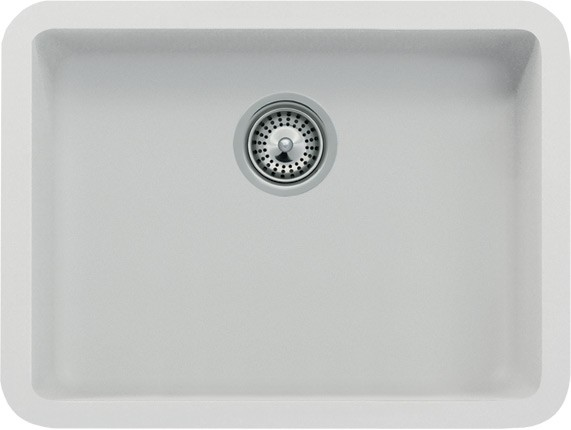 White Quartz Composite Single Bowl Undermount Kitchen Sink - 19-13 ...
