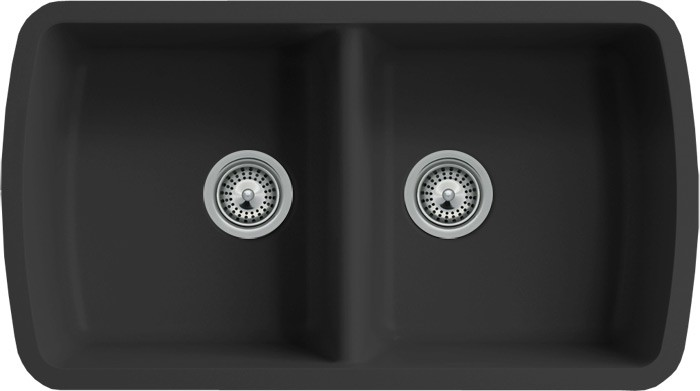 Black Quartz Composite 50/50 Double Bowl Undermount Kitchen Sink ...