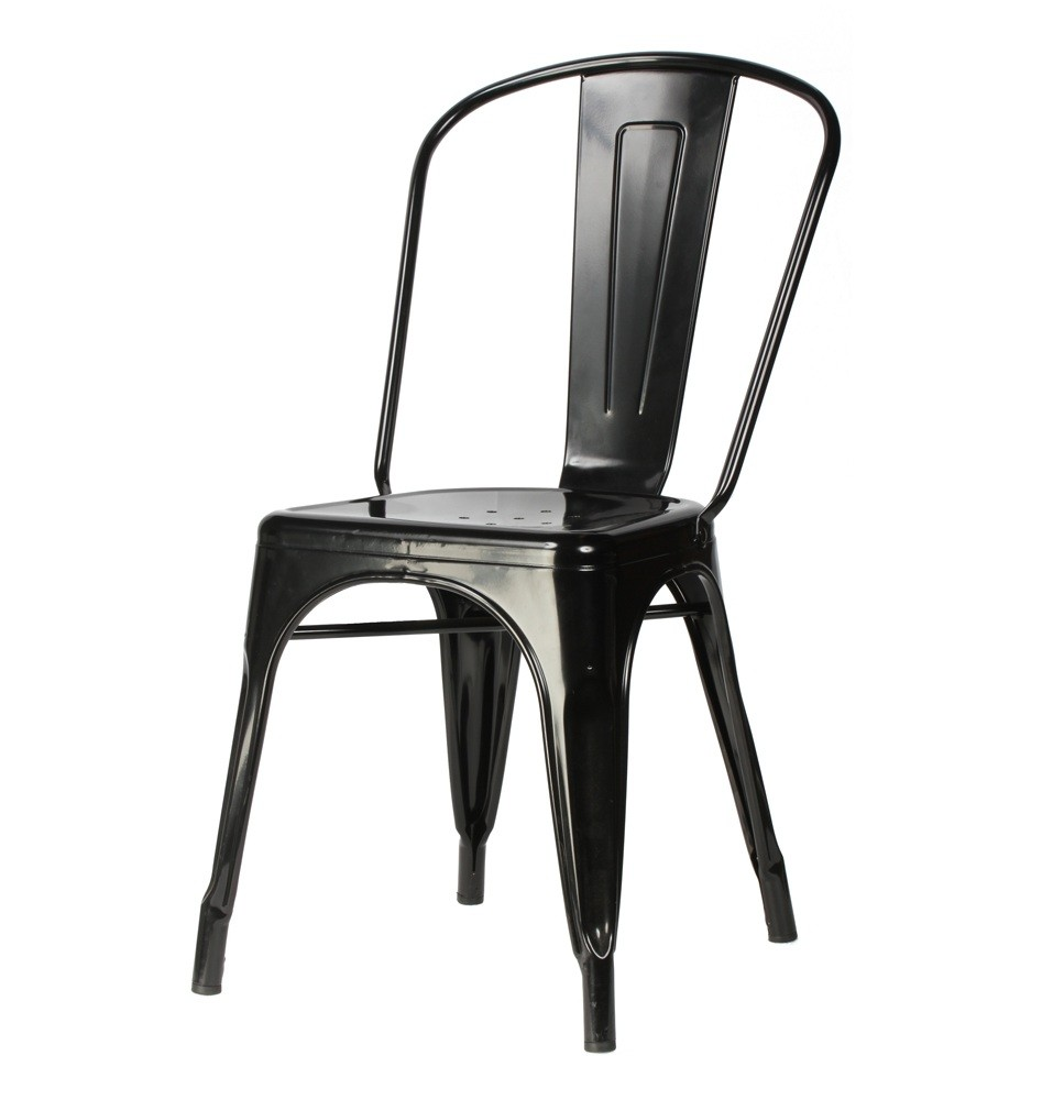 Tolix style metal industrial loft designer cafe chair in black for Industrial design chair