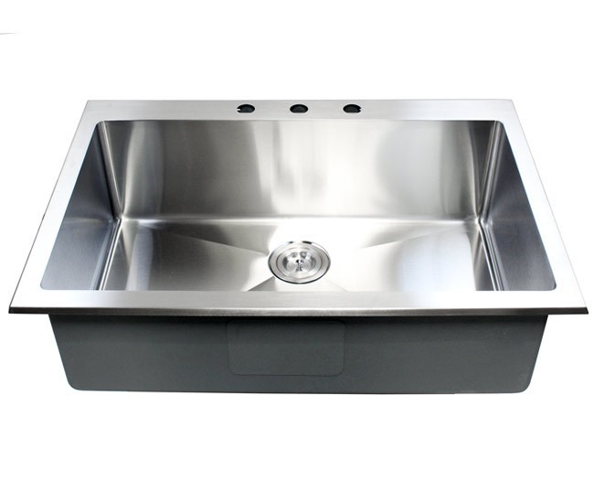 33 Inch Top Mount Drop In Stainless Steel Single Bowl