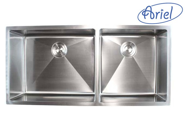 42 inch stainless steel 15mm radius design undermount double bowl kitchen sink ariel 42 inch stainless steel undermount double bowl kitchen sink      rh   cbath com