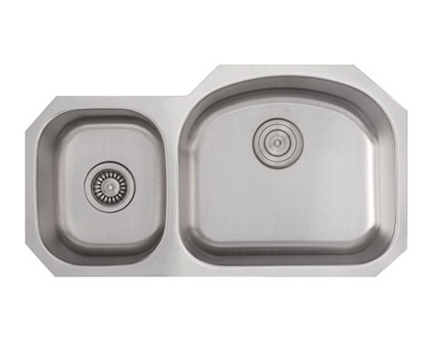 32 inch stainless steel undermount 40 60 double d bowl offset kitchen sink   16 gauge 32 inch stainless steel undermount double 40 60 d bowl offset      rh   cbath com