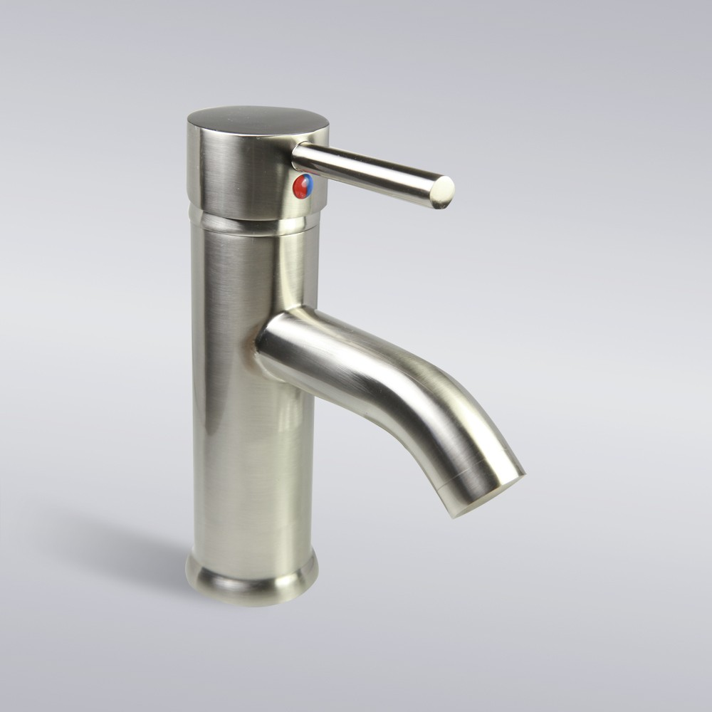 ... Nickel Bathroom Lavatory Vessel Sink Single Hole Faucet - 7 x 3 Inch
