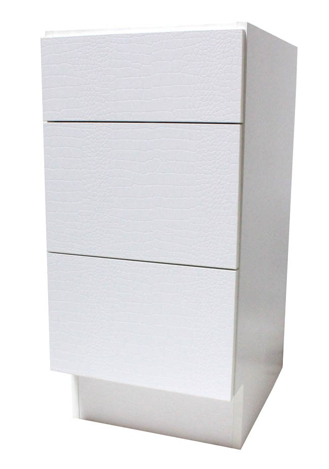 12 Inch European Design Bathroom Vanity 3 Drawer Cabinet Base White Textured Finish