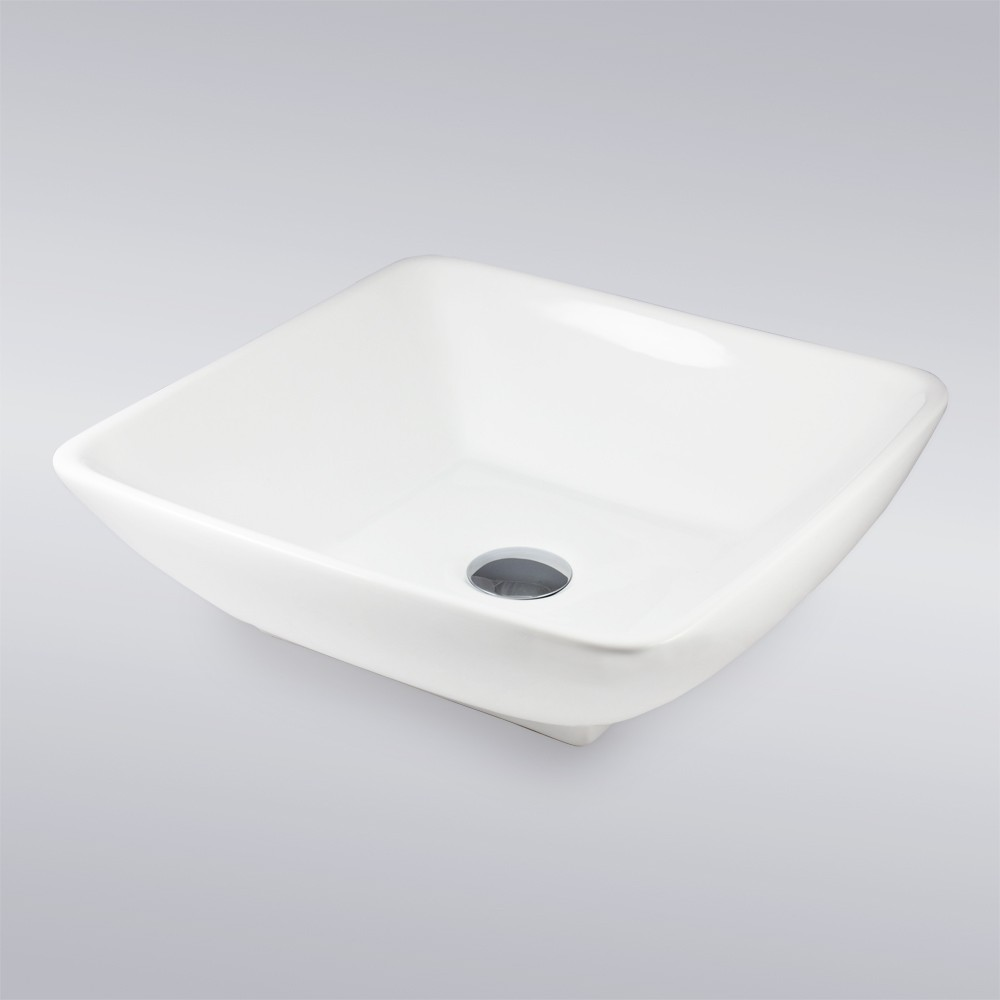 White Biscuit Black Porcelain Ceramic Countertop Bathroom Vessel Sink 16 1 2 X 16 1 2 X 5 Inch
