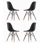 4 X DSW Dining Shell Chair with Dark Walnut Eiffel Legs in Black