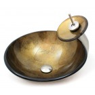 Golden Doubloon Bathroom Vessel Glass Sink and Waterfall Faucet Combo