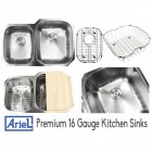 Ariel Pearl 32 Inch Premium 16 Gauge Stainless Steel Undermount 40/60 Double Bowl Kitchen Sink with FREE ACCESSORIES