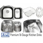 Ariel Pearl 32 Inch Premium 16 Gauge Stainless Steel Undermount 70/30 D-Bowl Offset Kitchen Sink with FREE ACCESSORIES