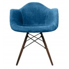 Aqua Blue Velvet Fabric Style Accent Arm Chair