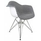 Designer Houndstooth Pattern Woven Fabric Upholstered White Accent Arm Chair
