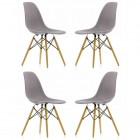 4 X DSW Dining Shell Chair with Wood Eiffel Legs in Gray