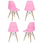 4 X Eames Style DSW Dining Shell Chair with Wood Eiffel Legs in Pink