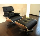 Eames Style Top Grain Leather Lounge Chair In Black With Ottoman