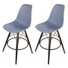 2 X Dark Gray DSW Bar Stool with Dark Walnut Wood Eiffel Legs