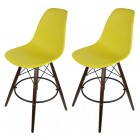 2 X Dark Yellow Eames Style DSW Bar Stool with Dark Walnut Wood Eiffel Legs