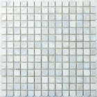 White Irredescent Reflection Rippled Glass Mosaic Tile Mesh Backed Sheet