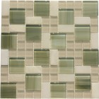 Glossy Bright Green Glass with White Marble Mosaic Tile Mesh Backed Sheet