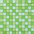 Glossy Apple Green Blend Glass Mosaic Tile Mesh Backed Sheet