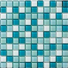Glossy Sky Blue Blend Glass Mosaic Tile Mesh Backed Sheet