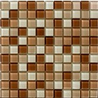 Glossy Brown Cappuccino Blend Glass Mosaic Tile Mesh Backed Sheet