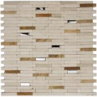 Brushed Stainless Steel Stick Mixed with Beige Marble Stick Mosaic Tile Mesh Backed Sheet