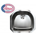 24 Inch Patriot Premium 18 Gauge Stainless Steel Undermount Single D-Bowl Kitchen Island / Bar Sink