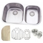 32 Inch Stainless Steel Undermount Double 70/30 D-Bowl Offset Kitchen Sink - 16 Gauge FREE ACCESSORIES