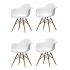 4 X Eames Style DAW Dining Armchair with Wood Eiffel Legs in White