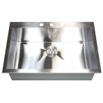 33 Inch Top-Mount / Drop-In Stainless Steel Single Bowl Kitchen Sink Zero Radius Design