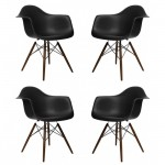 4 X Eames Style DAW Dining Armchair with Dark Walnut Eiffel Legs in Black