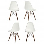 4 X Eames Style DSW Dining Shell Chair with Dark Walnut Eiffel Legs in White
