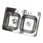 33 Inch Stainless Steel Top Mount Drop In 50/50 Double Bowl Kitchen Sink - 18 Gauge