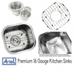 Ariel Pearl 14 Inch Stainless Steel Undermount Single Bowl Kitchen / Bar / Prep Sink - 18 Gauge
