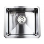 17 Inch 16 Gauge Undermount Single Bowl Stainless Steel Sink 15mm Radius Design Combo Package