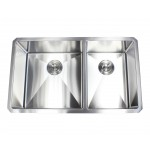 32 Inch 16 Gauge Undermount Double Bowl Stainless Steel 60/40 Sink 15mm Radius Design Premium Combo Package