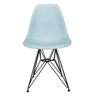 Nature Series Ice Blue DSR Mid-Century Modern Dining Chair with Black Eiffel Steel Leg